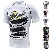 Khroom T-shirt de Compression de Super-héros pour Homme | Vêtement Sportif à Séchage Rapide pour Fitness, Gym, Course, Musculation | Matériel Extensible et Ventilé Anti Transpiration (Batman blanc, M)