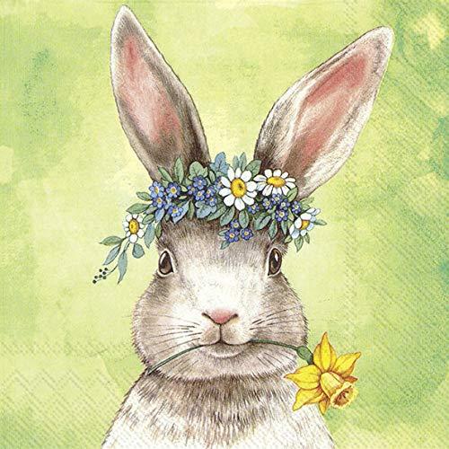 20 Servietten Hase mit Blumenkranz und Narzisse als Tischdeko für Ostern 33x33cm