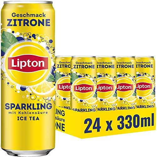 LIPTON ICE TEA Sparkling Zitrone, Eistee mit Kohlensäure und Zitronen Geschmack (24 x 0.33l)