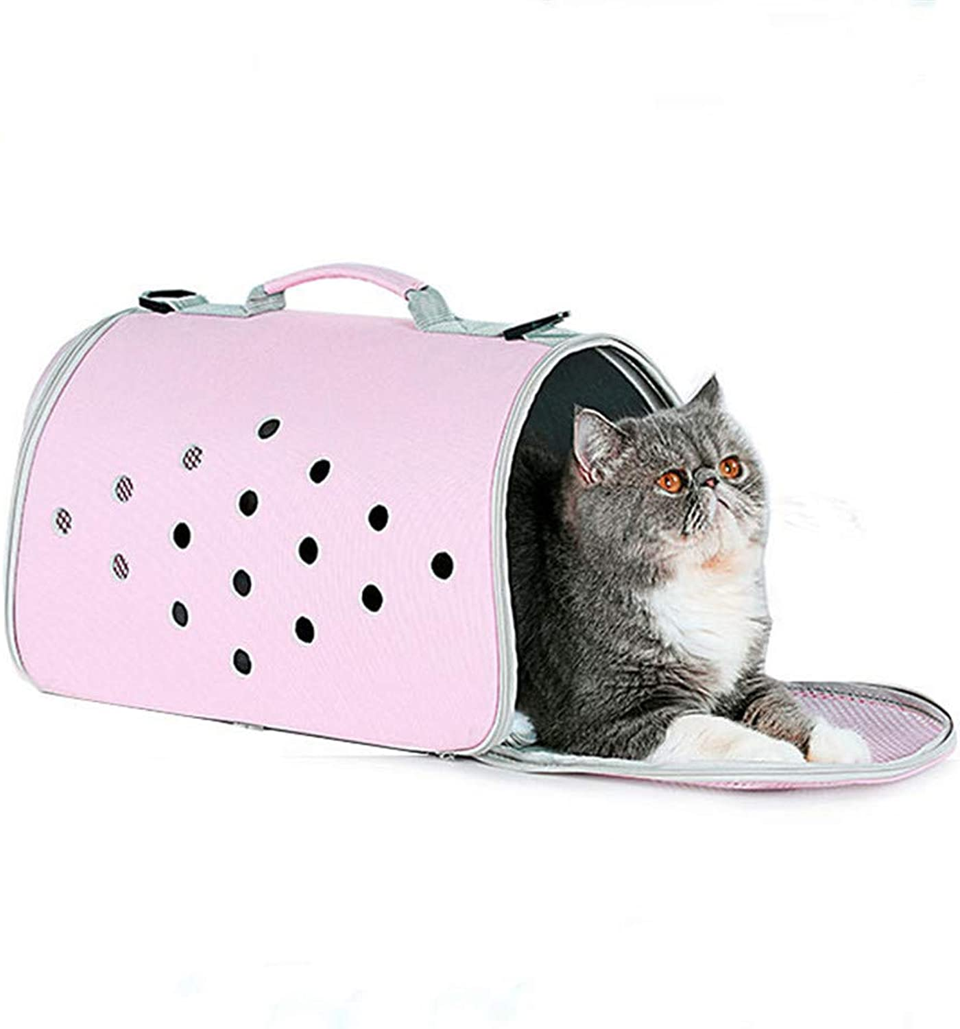 DHCY pet backpack handbag carrying bag pu breathable multifunction collapsible dog cat pet bag travel outdoor, 23  40  23cm,Pink