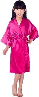 Girl Silky Satin Solid Color Short Kimono Robe Nightwear Spa Party Sleepwear