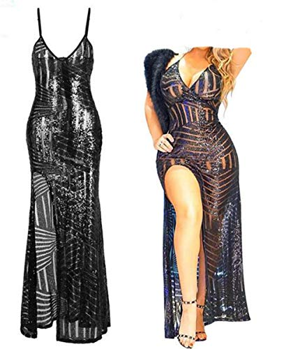 Saoye Fashion Sommer Frauen Pailletten Kleid Haute Couture Kleid Perspektive Schwarz Spaghetti Fiesta Kleidung Slim Fit Vintage Frauenart Ballett Ballkleider (Color : Colour, Size : S)