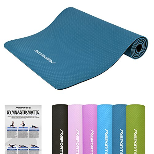 MSPORTS Gymnastikmatte Yoga-Premium inkl. Übungsposter 183 x 61 x 0,8 cm   Hautfreundliche - Phthalatfreie Fitnessmatte Yogamatte (Marineblau - 183 x 61 x 0,8 cm)