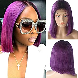 Bob Wigs Purple Human Hair Lace Front Wigs Pre Plucked 13×4 lace frontal Bob swiss Lace Wig Middle Part Straight 10inch Purple Hair Frontal Bob 180% Density for Women(Could be restyle)