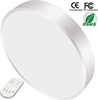 28W 16inch Dimmable LED Flush Mount Ceiling Light with Remote Control Round LED Ceiling Lamp Lighting Kitchen Bathroom Living Room 2800K-6500K 3 Color Temperature and Brightness Adjustment