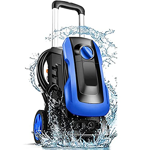 mrliance Electric Pressure Washer 3380 PSI 2.55GPM Pressure Washer 1800W Power Washer with New Retractable Handle,4 Nozzles&Soap Bottle,Compact Design for Home,Garden,Car[Upgrade Ver](Blue)