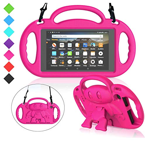 MENZO Kids Case for All-New Fire 7 2019, Light Weight Shockproof Shoulder Strap Handle Stand Case for Fire 7 Inch (Compatible with 9th Generation 2019 / 7th Generation 2017) - Rose