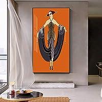 """キャンバス画像抽象的なエレガントな女性のポスターとプリントアートワーク壁アートリビングルーム寝室の家の装飾23.6""""x 39.4""""(60x100cm)フレームレス"""