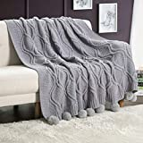 Revdomfly Chenille Knitted Throw Blanket with Pom Poms, Fuzzy & Fluffy Couch Cover Decorative Knit Blanket for Sofa Bed, 51.2' x 63', Grey