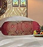 Real Online Indische Polydupion zylindrische Röhrenkissen Nackenrolle Kissenbezüge Jacquard Brokat Bordüre Große Couch rund Mandala Design Zylinderkissen Bezüge (2er Set)