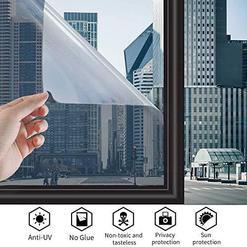 TTMOW Spiegelfolie selbstklebend,Sonnenschutzfolie Fensterfolie 99%-UV-Schutz,Spiegelfolie Fenster Sichtschutz,Einwegspiegelfolie reflektiert Starkes Sonnenlicht Grau & Silber (60 x 200 cm)