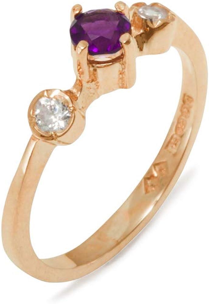 18k Rose Gold Natural Amethyst High material Diamond Siz Womens Trilogy - Minneapolis Mall Ring