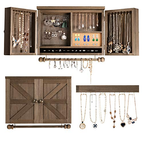 CHARMAID Rustic Wall Mounted Jewelry Organizer Cabinet, Wooden Jewelry Holder Box with Barndoor, Removable Bracelets Rod, Hooks Shelf, Mesh Jewelry Organizer for Necklaces, Earrings, Rings