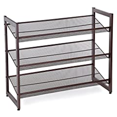 STACKABLE SHOE STORAGE RACK: Each two racks can be easily stacked a 4-tier one to well organize your shoes ADJUSTABLE, EITHER SLANT OR FLAT: The storage shelf can be installed either flat or angled as you like to meet your different needs 3-TIER SHOE...