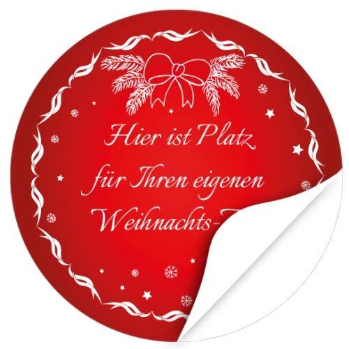 24 PERSONALISIERTE Weihnachtsaufkleber, Motiv rot klassisch Schneeflocken - Privat, Geschäftlich, als Einladung oder zu Geschenken vielfältig und individuell einsetzbar