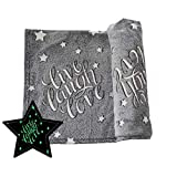 Glow in The Dark Blanket Throw Grey Soft Plush Fleece Live Laugh Love Word Design Large 50 x 60 inch