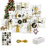 24 cajas de Adviento, calendario de Adviento 2020, con 24 pegatinas de Navidad, como bolsa de regalo de Navidad para manualidades DIY con pegatinas de números, caja de regalo infantil