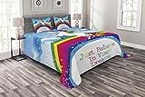 ABAKUHAUS Einhorn Tagesdecke Set, Einhorn Regenbogen-Fantasie, Set mit Kissenbezügen Waschbar, für Doppelbetten 220 x 220 cm, Mehrfarbig Blau