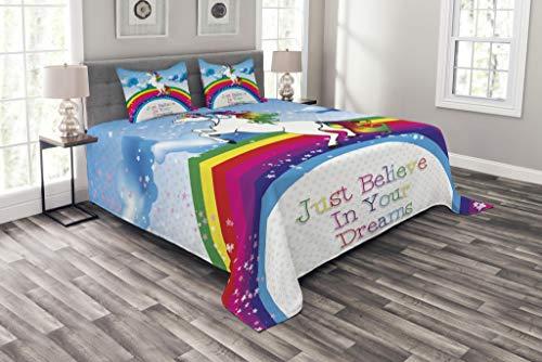 ABAKUHAUS Niños Cubrecama, Unicornio Criatura Surreal Mito y Arcoiris Nubes Estrella Cuento de Hadas Niñas, Lavable Colores Firmes, 220 x 220 cm, Multicolor