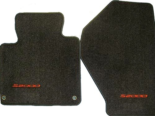 Honda Genuine OEM S2000 Carpet Floor Mats Set of 2 -Black with Red Letters - 2002 2003 2004 2005 2006 2007 2008 2009