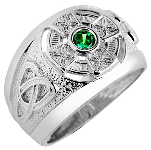 Celtic Rings 925 Sterling Silver Trinity Knot Green CZ Men's (Size 15)