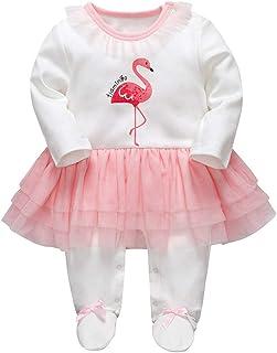 Minizone Baby Mädchen Tütü Strampler Spielanzug Langarm Footies Overalls Säugling Schlafanzug