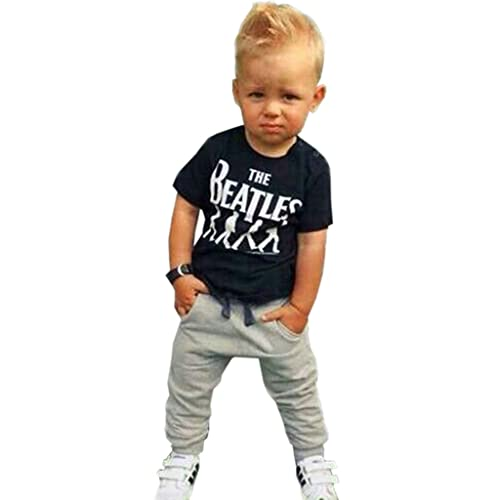 3d22f969c Rorychen Little Boy Clothes Set Outfits:T-Shirt+Trousers Sports Casualwear(1