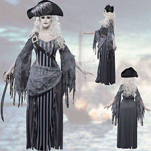NET TOYS Zombie-Piratin Kostüm Geisterpiratin L 44/46 Geisterschiff Piratenbraut Halloweenkostüm Seeräuberin Gothickostüm Freibeuterin Halloween Outfit Damen