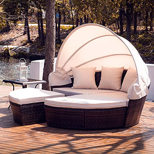 VONLUCE 4 Piece Modular Wicker Garden Daybed, Outdoor Sectional Sofa Set with Rattan Daybed or 4 Chairs, Retractable Canopy, Pillows, Beige