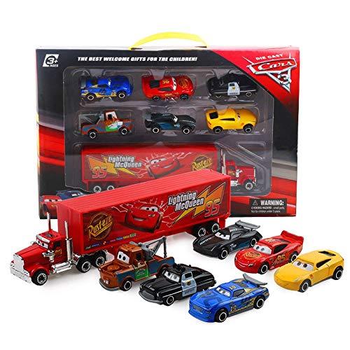 BVCXZ 7PCS / Set del Coche de Pixar 3 Rayo Mcqueen Jackson tormenta Mack Truck tío 01:55 Fundido a Troquel del Coche de Metal de Juguete de Modelo Boy (Color : 7pcs)