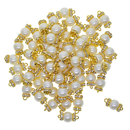 MagiDeal 50x Pearl Rhinestone Jewelry Making Charms Pulsera Collar Link Conector