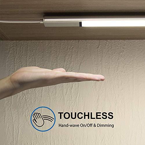LED Unterbauleuchte Küche Schrankleuchten Dimmbar mit Berührungsloser Sensor, EZVALO Lichtleiste 60cm in Neutralweiß 4000K, Ultra Dünn mit USB Anschluss für Theke Schrank Flur Treppe Wohnmobil