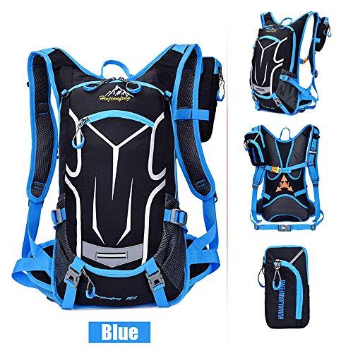 Sac à dos de vélo 18L, sac à dos durable et respirant, imperméable et anti-vol, pour le voyage en plein air, contenant des poches multifonctions, pour la course à pied et la randonnée.Etc,Bleu