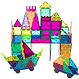 ROPODA Magnetic Tiles 102 PCS, Magnetic Building Blocks with 2 Cars for 3 Years Old and Up Kids