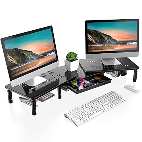 FITUEYES Monitorständer Höhenverstellbarer Bildschirmständer aus Hochwertigem Metall Monitor-Riser Ergonomischer Ständer für Laptop,PC,76-103×23.5×10,9/12,9/14,9cm,Drucker bis 10kg DT115903MB