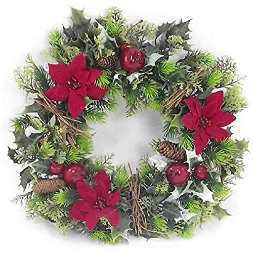 16' inch Artificial Red Poinsettia & Holly Christmas Wreath for indoors and outdoors