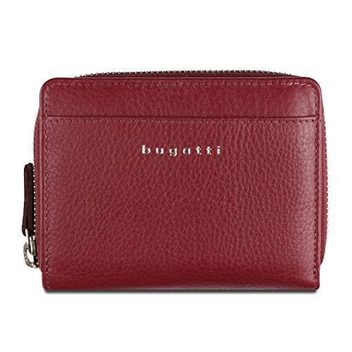 Bugatti Lady Top Portemonnaie Damen Leder 14 CC, Geldbörse Damen Leder - Portmonee Geldbeutel Damengeldbörse - Rot