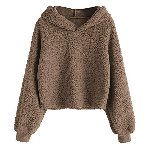 ZAFUL Women's Long Sleeve Hoodie Faux Fur Solid Color Crop Pullover Sweatshirt Tops Coffee S