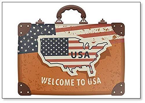 Beeld van een koffer met kaart van Amerika in retrostijl en opschrift Welkom bij de Amerikaanse koelkastmagneet
