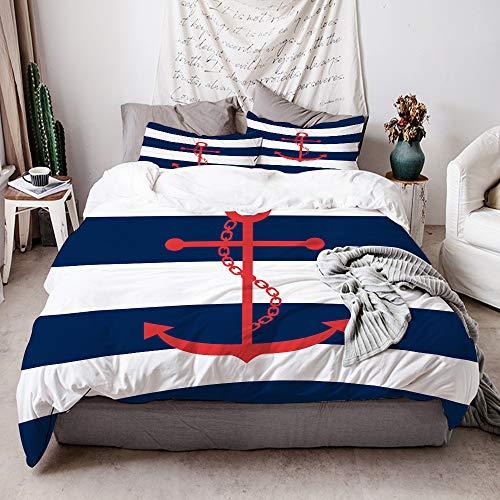 KIMDFACE Set Biancheria Letto,Motivo a Strisce Blu Navy e Bianco dell'ancora Rossa Nautica Stampato,Copripiumino in Microfibra,1(220x240cm)+ 2(50x80cm)
