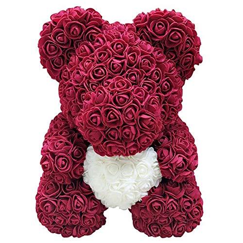 Delisouls Rosa Oso Osito Oso, Hecho a Mano Lindo Moda Precioso Rojo Grande Rosa Juguetes, Adornos Regalos para San Valentín Día 25cm Fiesta Cumpleaños Paisaje - Azul Real (Red Wine)