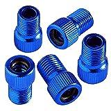 99native 5PC Aluminiumlegierung Ventil Adapter Set Fahrradventil Adapter,Ventiladapterkit Autoventil Blitzventil Auto Tankstelle Luftmatratze Ballpumpe (Blau, 5PC)
