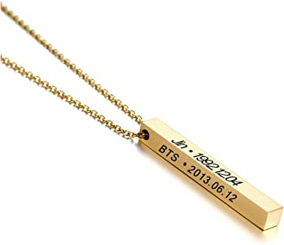 Women Personalized 3D Bar Pendant 4 Sided Vertical Engraved Stainless Steel Necklace