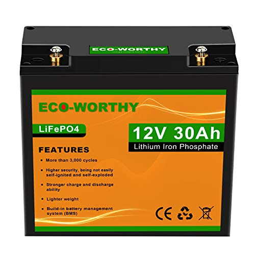 ECO-WORTHY 12V 30Ah LiFePO4 Lithium Iron Deep Cycle Rechargeable Battery with Built-in BMS, 3000+ Life Cycles, Perfect for RV, Boat, Kids Scooters, Power Wheels, Tool Trailer,etc