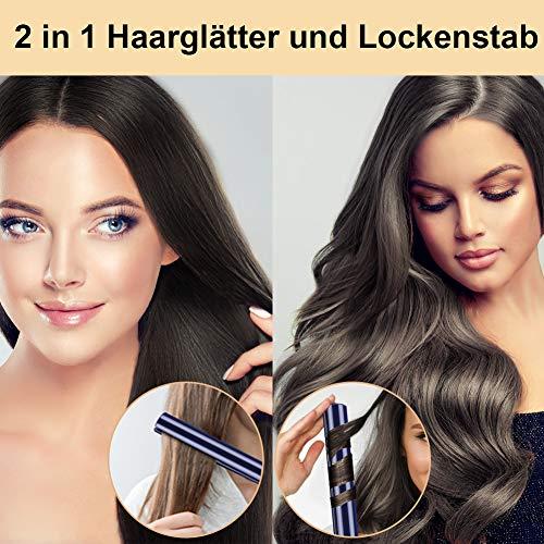 Haarglätter und Lockenstab 2 in 1 für Alle Haartypen, Keramik Glätteisen Locken Und Glätten, Professional Hair Straightener Schnell Erhitzt LED Anzeige 120°C-230°C, 360° Drehbares Kabel-Blau