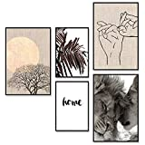 decomonkey | Poster 5er – Set schwarz-weiß Abstrakt