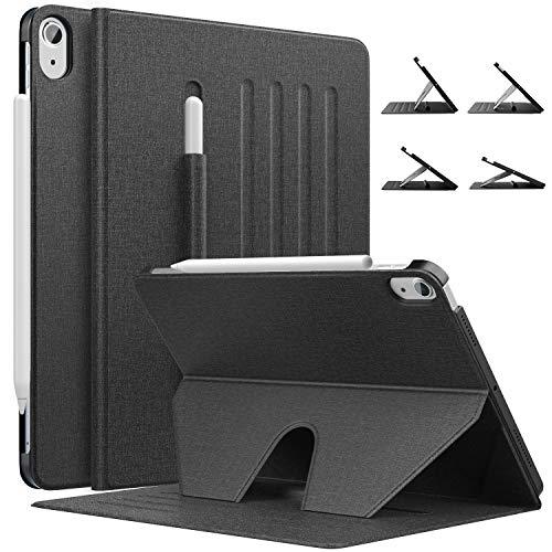 MoKo Hülle Kompatibel mit iPad Air 4. Generation 2020 Neu iPad 10.9 Zoll 2020, Auto Schlaf/Wach Magnetische Schutzhülle Stifthalter, rutschfest Multi-Winkel Ständer, Schwarz