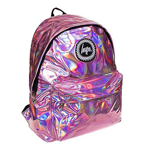 hype Holographisch Rucksack Rucksack Beutel - Ideal Schultaschen - Rucksack für Jungen und Mädchen - Rosa, Einheitsgröße