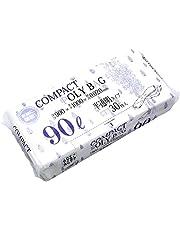 ハウスホールド コンパクト ポリバッグ 半透明 ポリ袋 90L 30枚入×15個セット 厚さ0.02mm 収納便利 1枚づつ取り出せるコンパクトタイプ (ケース販売) KJ90