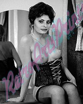 young Sophia Loren Topless RARE 8X10 B&W Image